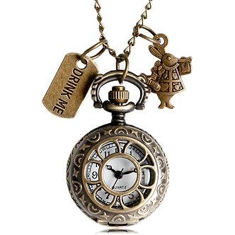 Alice in Wonderland Pocket Watch Rabbit Flower Hollow Drink Me and Rabbit Quartz