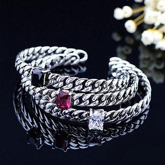 ANENJERY 925 Sterling Silver Thai Silver Bangle Punk Zircon Rope Chian Cuff