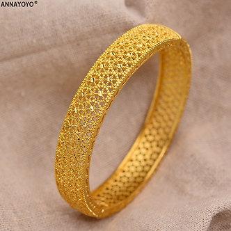 24k Dubai Gold Bangles for Women Gold Dubai Bride Wedding Ethiopian Bracelet