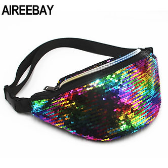 AIREEBAY Waist Bag Women's Fanny Pack Sequin Leather Chest Bag Leisure