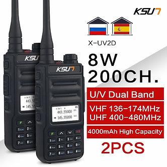 1 or 2PC  KSUN 8W Walkie Talkie Long Range VHF UHF Dual Band Two Way Radio