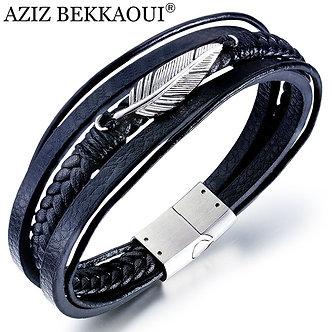 AZIZ BEKKAOUI Multilayer Feather Leather Bracelet for Men Black Punk Cowhide
