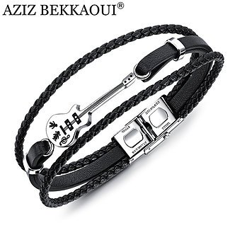 AZIZ BEKKAOUI Unique Stainless Steel Guitar Bracelets Fashion Logo Leather