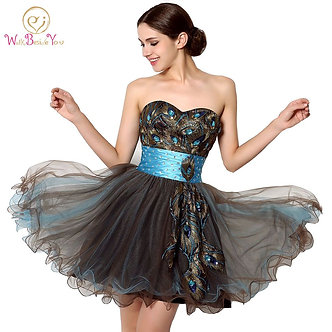 100% Real Images Cheap Party Dresses Short Chocolate Ball Gown Cocktail Dresses