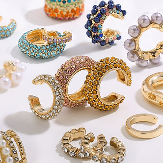 2020 New Arrival Multicolor CZ Crystal Ear Cuff Stackable C Shaped Ear Clips