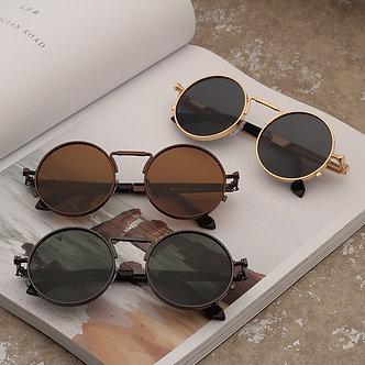 Vintage Men Sunglasses Women Retro Punk Style Round Metal Frame Colorful Lens