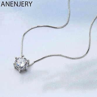 ANENJERY 925 Sterling Silver Necklace Six Claw AAA CZ Mosaic Zircon Choker