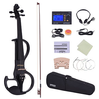 Ammoon Full Size 4/4 Solid Wood Electric Silent Violin Fiddle Style-3 Ebony