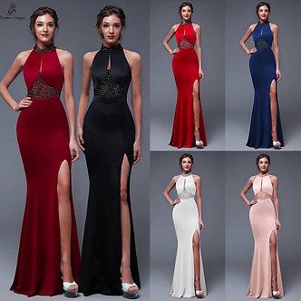 Backless Elegant Evening Dress Charming Slit Side Open Prom Formal Party Dress