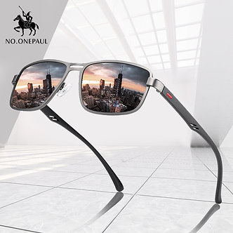 NO.ONEPAUL Brand NEW Fashion Sunglasses Men UV400 Polarized Square Metal Frame