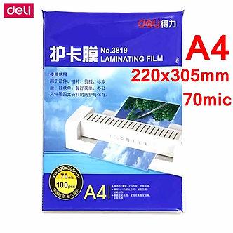 100pcs/Bag Deli 3819 Hot Pouch Laminating Film A4(220x305mm) Size 70 Mic Photo