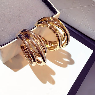 AENSOA Fashion Round Hoop Earrings for Women Vintage Gold Color Wedding Party