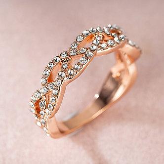 2020 New Twist Rope Hemp Cubic Wedding Rings for Women Rose Gold Micro Zirconia