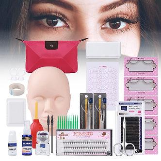12/13/14/19pcs/Set False Eyelashes Extension Set With Training Head Model