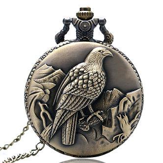 Antique Eagle Design Fob Quartz Pocket Watch With Necklace Chain Hot Sale