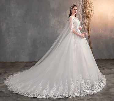 2021 Chinese Wedding Dress With Long Cap Lace Wedding Gown With Long Train