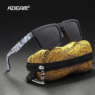 KDEAM Eye-Catching Function Polarized Sunglasses for Men Matte Black Frame