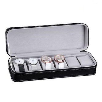 6 Slots PU Leather Watch Box  Organizer With Lock or Portable Travel Zipper Case