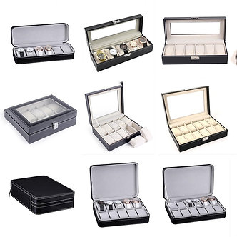 2/4/6/8/10/12 Grids Watch Box Zipper PU Leather Watches Case Holder Portable