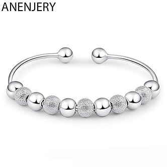 ANENJERY 925 Sterling Silver Hot Sale Women Lucky Beads Bangles Open Cuff