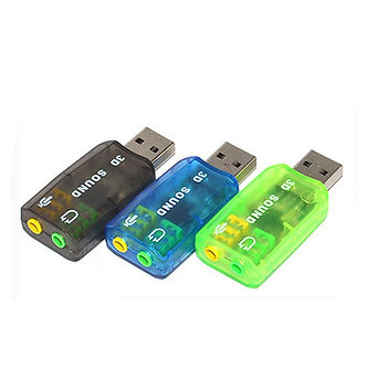 5.1-Channel USB 2.0 External Sound Card W/3.5mm Headphone and Microphone Jack