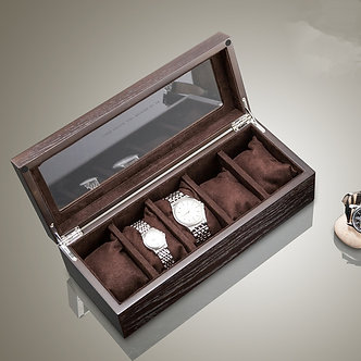 2021 New Wood Watch Storage Boxes Case With Window Pewter Veneer Mechanical