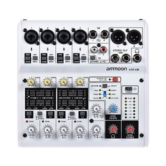 Ammoon AM-6R 8-Channel Digital Audio Mixer Mixing Console With Recording DJ