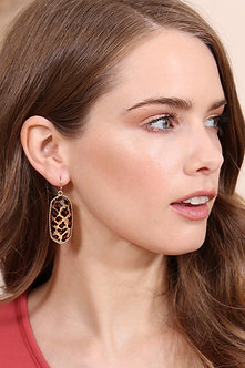 Ae0331 - Camouflage Oval Fish Hook Drop Earrings