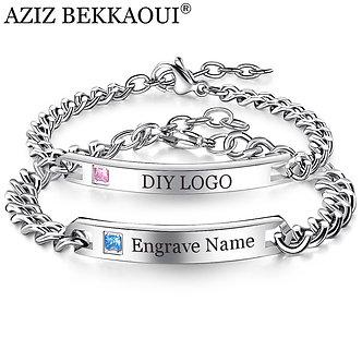 AZIZ BEKKAOUI Silver Color Engrave Name Bracelet Stainless Steel Couple