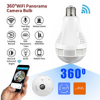 360 Degree WiFi Bulb Mini Camera 960P HD CCTV Panoramic Night Vision Motion