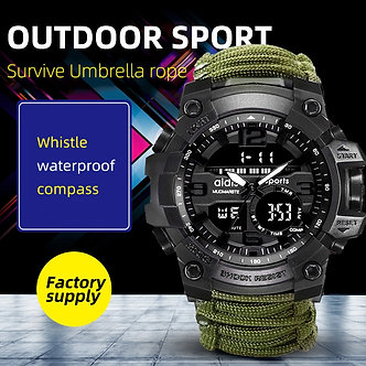 Addies Military Watch With Compass Men Tend  Waterproof Whistel Stopwatch Alarm
