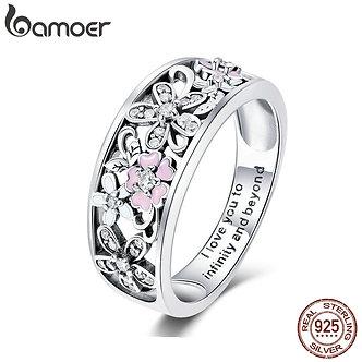 Bamoer 925 Sterling Silver Daisy Flower & Infinity Love Pave Finger
