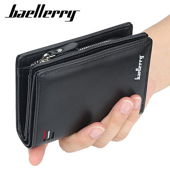 Baellerry Luxury Brand Men PU Leather Wallet With Zipper Coin Pocket Vintage