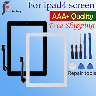 1PCS  for Apple iPad 4 Touch Screen Digitizer and Home Button Front Glass