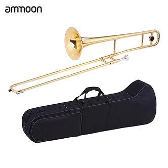 Ammoon Tenor Trombone Brass Gold Lacquer Bb Tone B Flat Wind Instrument