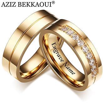 AZIZ BEKKAOUI Engrave Name Wedding Rings for Women Men Couple Promise Band