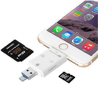 3in1 I Flash Device USB OTG Micro USB SD SDHC TF Card Reader for iPhone