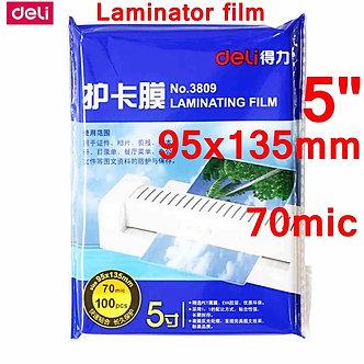 "100pcs/Lot Deli 3809 Hot Pouch Laminator Film 5""(95x135mm) Size 70 Mic Photo"