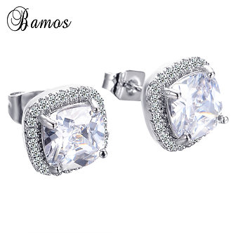 Bamos Luxury Women White Square Stud Earring With AAA Zircon Silver Color Double