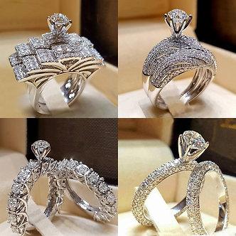 2Pcs Bridal Set Elegant Rings for Women Sliver Color Wedding Engagement Fashion