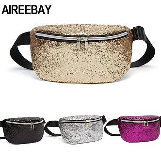 AIREEBAY Sequins Waist Bags Women Belt Bags Gold Fanny Packs Phone Zipper