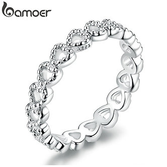 BAMOER Romantic Silver Color Heart to Heart Ring AAA Zirconia Cheap Rings