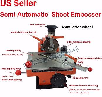 Newly Semi-Automatic Sheet Embosser Metal Stamping Printer Mark Machine