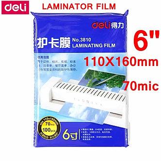 "100pcs/Lot Deli 3810 Hot Pouch Laminating Film 6""(110x160mm) Size 70 Mic Photo"