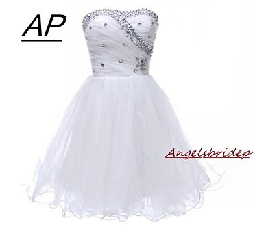 Angelsbridep Sweetheart Homecoming Dress 2021 Graduation Dresses Crystals Above