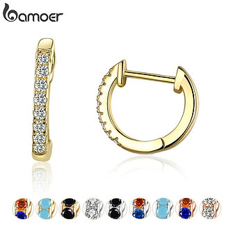 Bamoer 14K Gold Plated 925 Sterling Silver Cuff Earrings With Cubic Zircon