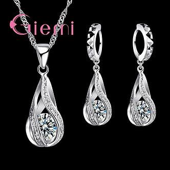 100% 925 Sterling Silver New Water Drop Cubic Zircon Pendant Necklace&Earrings