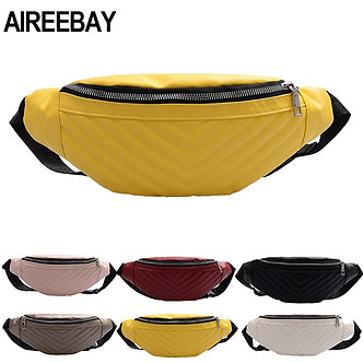 AIREEBAY Leather Fanny Pack for Women Waist Bag Casual Waterproof Antitheft