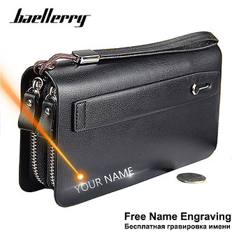 Baellerry Men Wallets Large Capacity Cell Phone Pocket Double Zipper Men Clutch