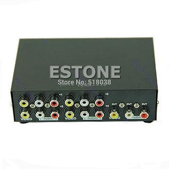 4 Port Input 1 Output Audio Video AV RCA Switch Switcher Selector Box Drop
